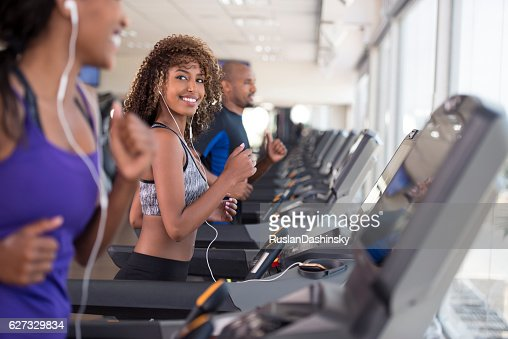 Gym group exercising.