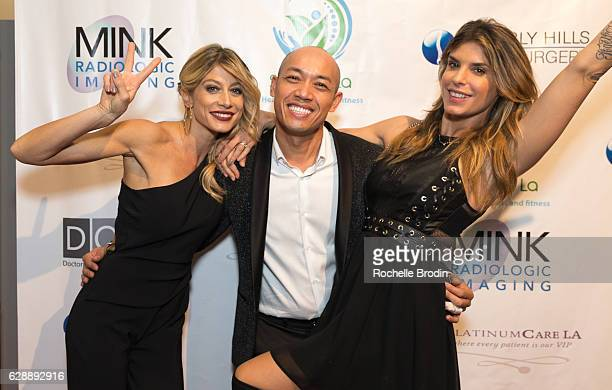 Gym Owner/actress Maddalena Corvaglia Michael Sengmanivong and Elisabetta Canalis attend Elisabetta and Maddalena For SkyViewLA on December 9 2016 in...
