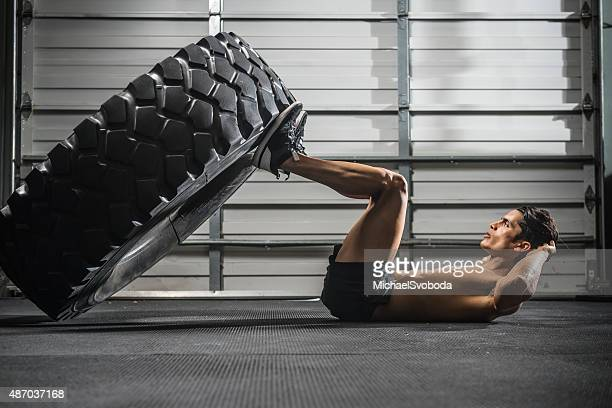gym Training with a Large Tire