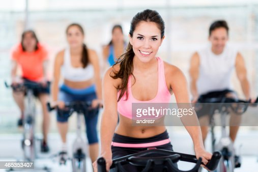 Gym woman in a spinning class
