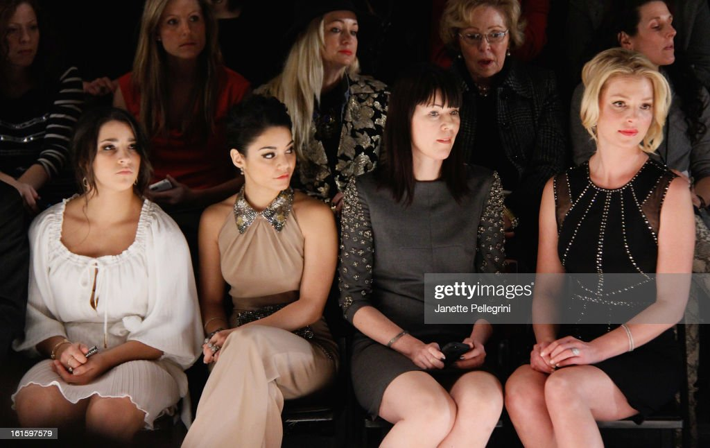Gymnast Ali Reisman, actress Vanessa Hudgens, guest and actress <a gi-track='captionPersonalityLinkClicked' href=/galleries/search?phrase=Katherine+Heigl&family=editorial&specificpeople=206952 ng-click='$event.stopPropagation()'>Katherine Heigl</a> attend Jenny Packham Fall 2013 Mercedes-Benz Fashion Show at The Studio at Lincoln Center on February 12, 2013 in New York City.