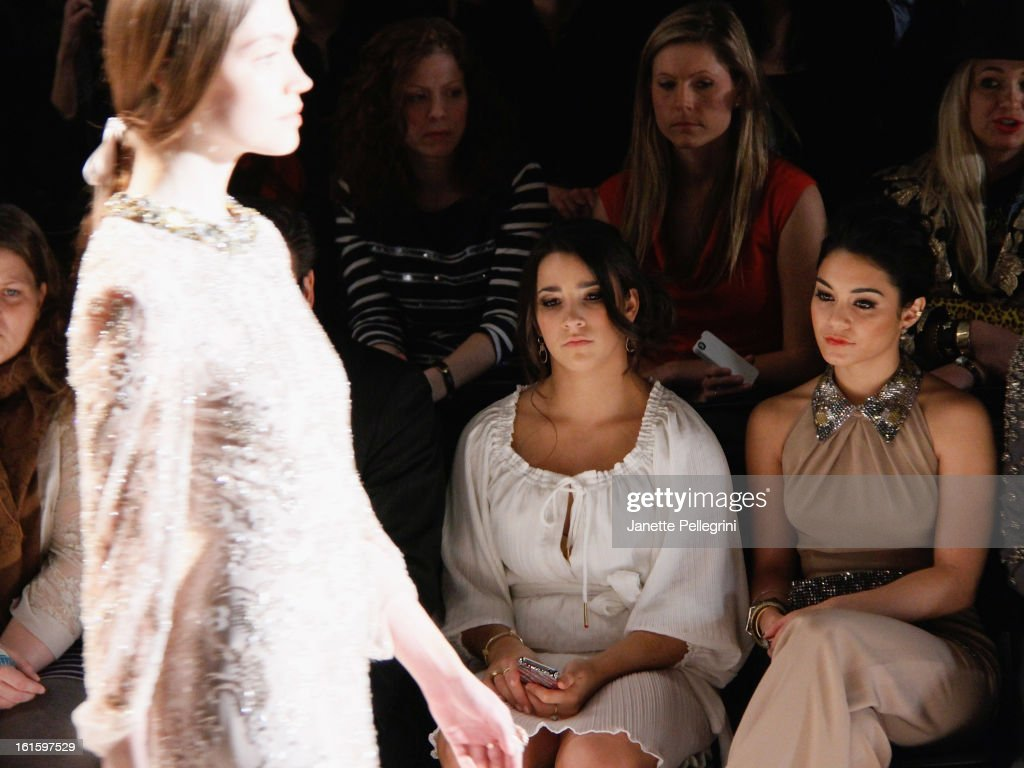 Gymnast Ali Reisman and Actress Vanessa Hudgens attend Jenny Packham Fall 2013 Mercedes-Benz Fashion Show at The Studio at Lincoln Center on February 12, 2013 in New York City.