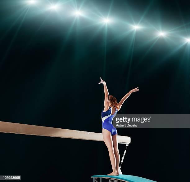 Gymnast competing on balance beam