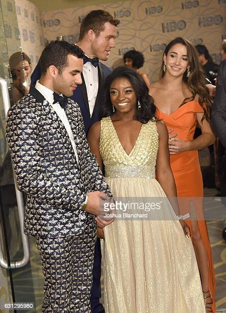 Gymnast Danell J Leyva football player Colton Underwood gymnast Simone Biles and gymnast Aly Raisman attend HBO's Official Golden Globe Awards After...