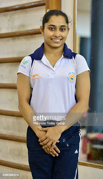 Gymnast Dipa Karmakar during training at the Indira Gandhi indoor stadium in New Delhi