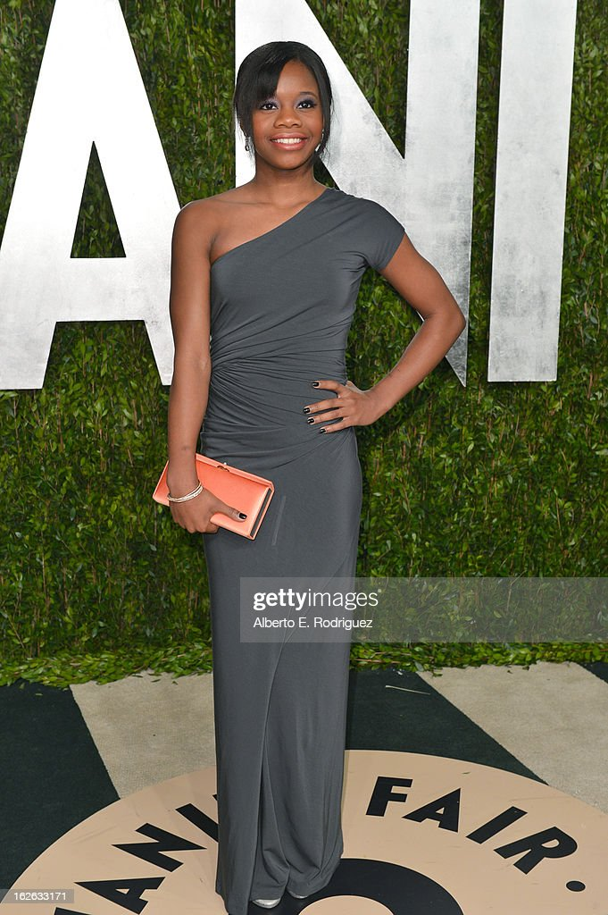 Gymnast Gabby Douglas arrives at the 2013 Vanity Fair Oscar Party hosted by Graydon Carter at Sunset Tower on February 24, 2013 in West Hollywood, California.