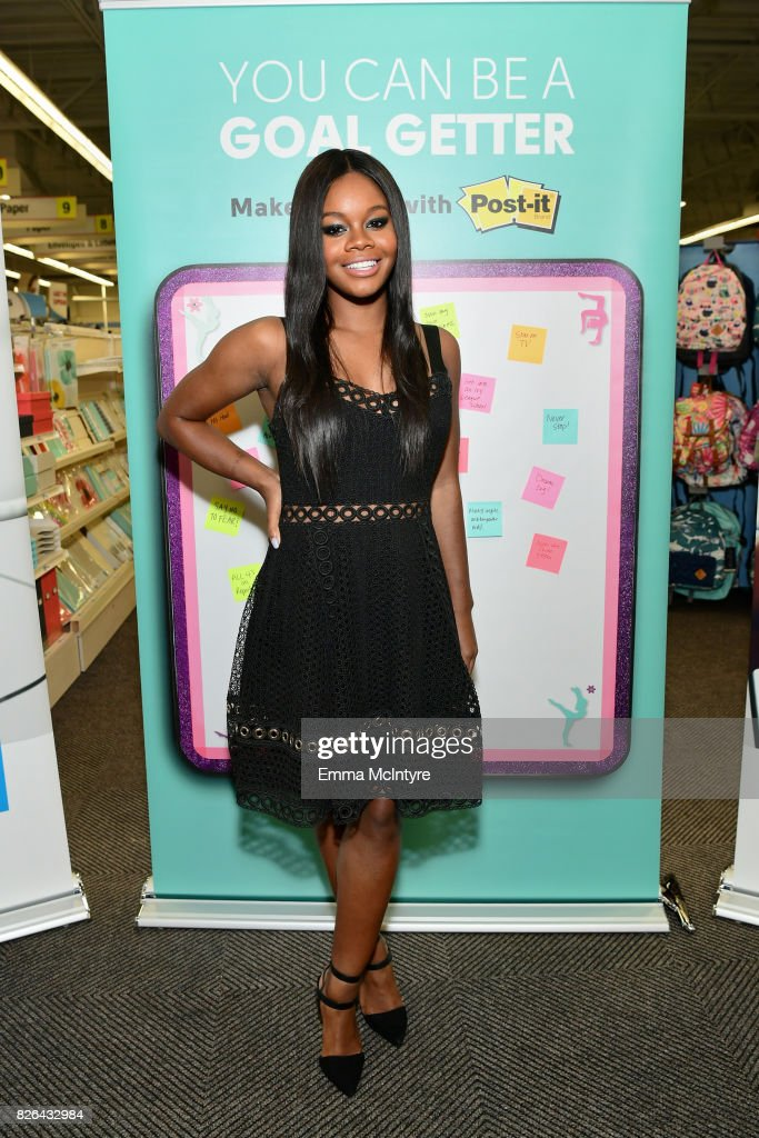 Gymnast Gabby Douglas at the Post-it Brand Make It Stick For Back-to-School 2017 appearance at Staples in Burbank, California on August 4, 2017.