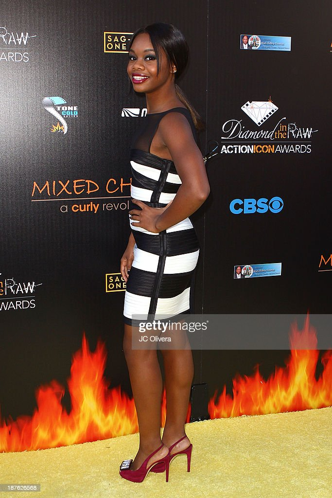 Gymnast <a gi-track='captionPersonalityLinkClicked' href=/galleries/search?phrase=Gabby+Douglas&family=editorial&specificpeople=8465211 ng-click='$event.stopPropagation()'>Gabby Douglas</a> attends The 6th Annual Diamond In The RAW-Action Icon Awards at Skirball Cultural Center on November 10, 2013 in Los Angeles, California.