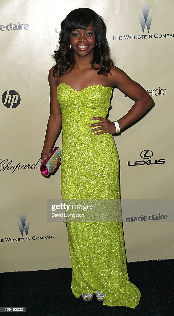 Gymnast Gabby Douglas attends The Weinstein Company's 2013 Golden Globe Awards After Party at The Beverly Hilton hotel on January 13, 2013 in Beverly Hills, California.
