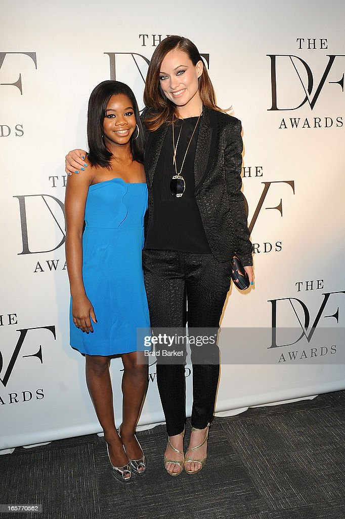 Gymnast Gabrielle Douglas (L) and Olivia Wilde attends 2013 DVF Awards at United Nations on April 5, 2013 in New York City.
