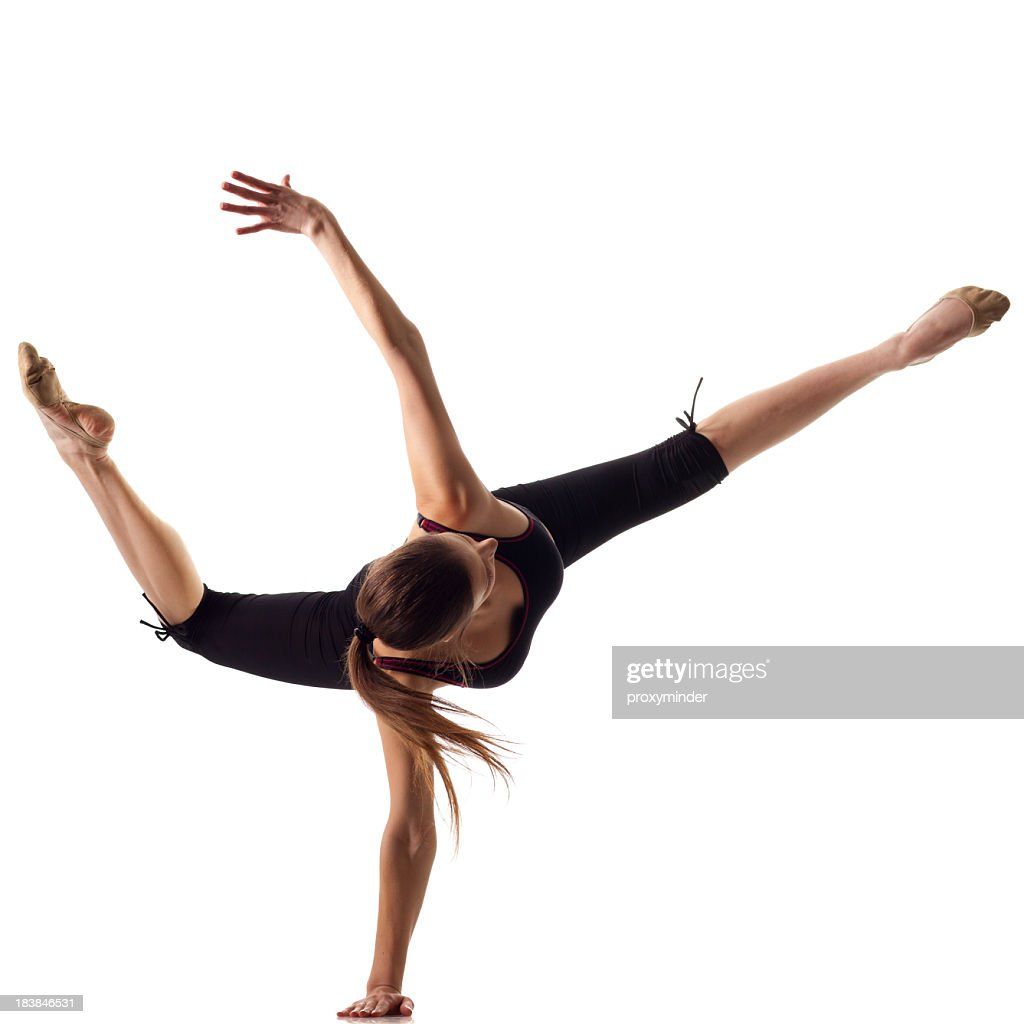 Gymnast girl isolated on white
