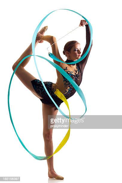 Gymnast girl on white background