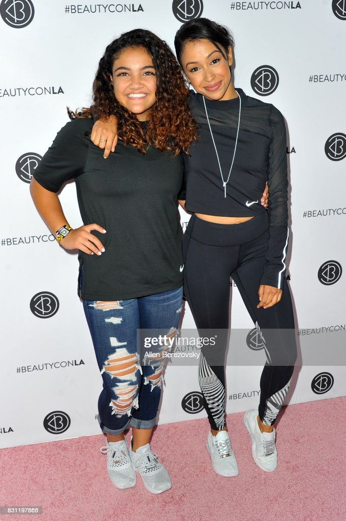 Gymnast Laurie Hernandez (L) and actress Liza Koshy attend the 5th Annual Beautycon Festival Los Angeles at Los Angeles Convention Center on August 13, 2017 in Los Angeles, California.