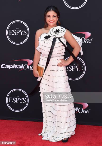 Gymnast Laurie Hernandez arrives at the 2017 ESPYS at Microsoft Theater on July 12 2017 in Los Angeles California