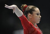 US gymnast McKayla Maroney competes on uneven bars during the 44th Artistic Gymnastics World Championships in Antwerp on October 2 2013 AFP PHOTO /...