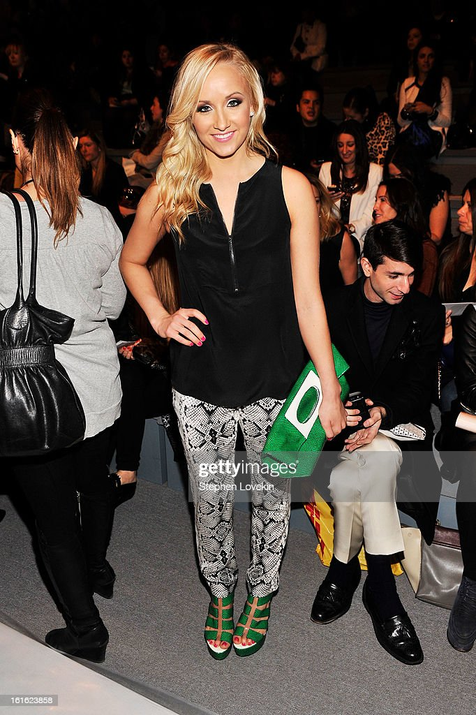 Gymnast Nastia Liukin attends the Nanette Lepore Fall 2013 fashion show during Mercedes-Benz Fashion Week at The Stage at Lincoln Center on February 13, 2013 in New York City.