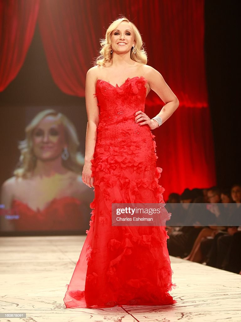 Gymnast Nastia Liukin walks runway at The Heart Truth's Red Dress Collection Fall 2013 Mercedes-Benz Fashion Show at 499 Seventh Avenue on February 6, 2013 in New York City.