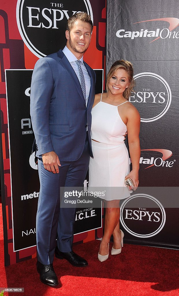 Gymnast Shawn Johnson arrives at The 2015 ESPYS at Microsoft Theater on July 15 2015 in Los Angeles California