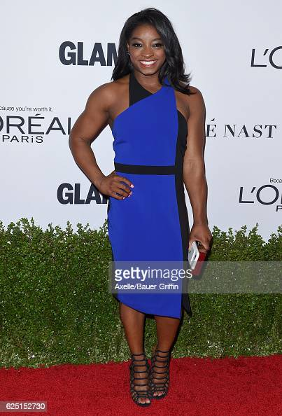 Gymnast Simone Biles arrives at Glamour Women of the Year 2016 at NeueHouse Hollywood on November 14 2016 in Los Angeles California