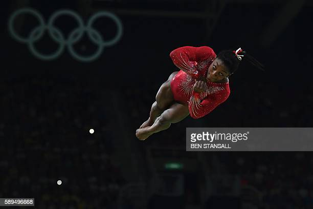 TOPSHOT US gymnast Simone Biles competes in the women's vault event final of the Artistic Gymnastics at the Olympic Arena during the Rio 2016 Olympic...
