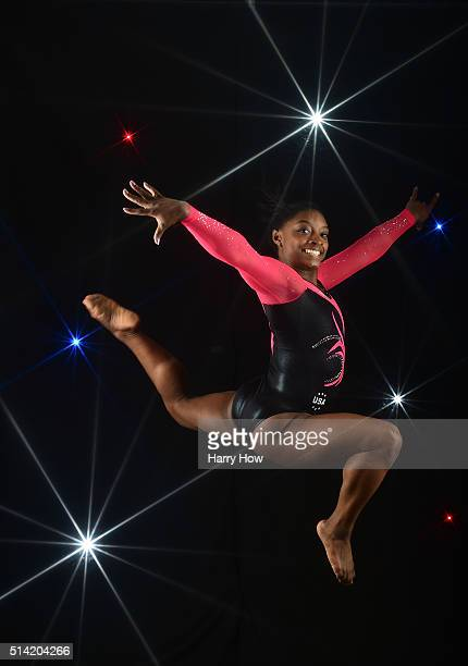 Gymnast Simone Biles poses for a portrait at the 2016 Team USA Media Summit at The Beverly Hilton Hotel on March 7 2016 in Beverly Hills California