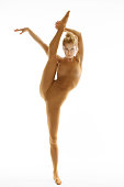 Gymnast Stretch Exercise, Woman Making Gymnastics String Workout and Balancing on one Leg, Girl in Leotard Isolated over White Background