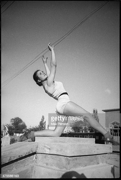 Gymnast The Komsomol lake in old Tashkent Uzbekistan circa 1940