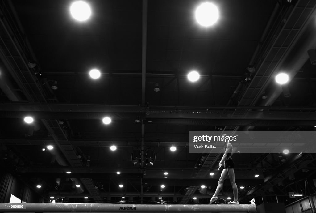 A Gymnast Trains On The Beam Day One Of Australian Gymnastics Championships At Sydney