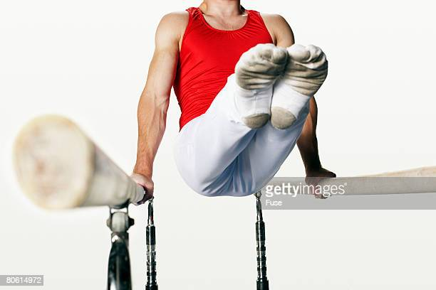 Gymnast Using Parallel Bars