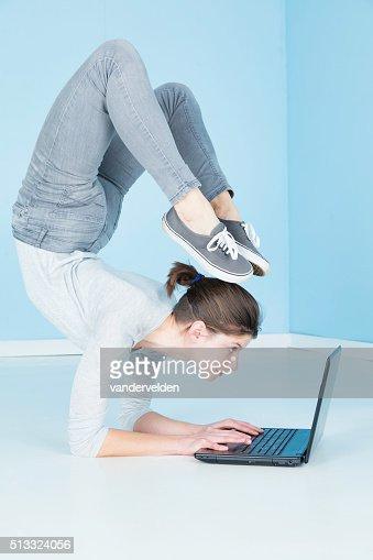 Gymnast Working On Her Laptop