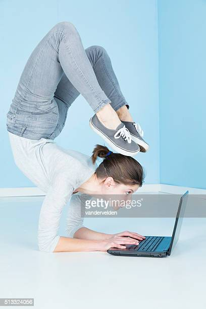Gymnast Working On Her Laptop