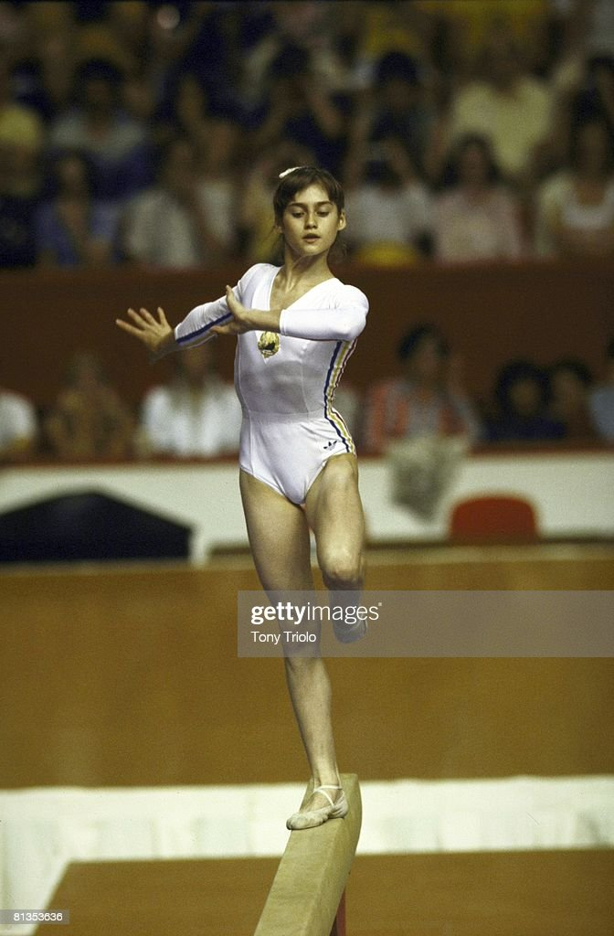 Gymnastics 1976 Summer Olympics ROM Nadia Comaneci in action during balance beam competition Montreal CAN 7/20/1976
