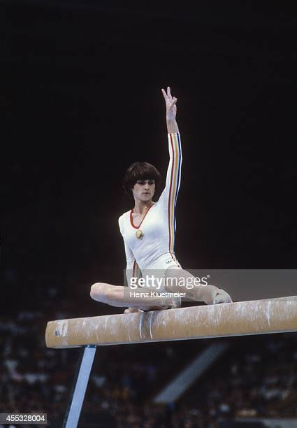 1980 Summer Olympics Romania Nadia Comaneci in action on balance beam at Sports Palace of the Central Lenin Stadium Moscow Soviet Union 7/25/1980...