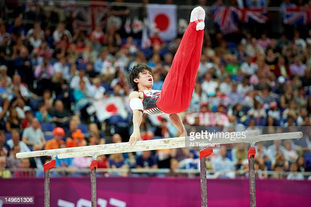 2012 Summer Olympics Japan Kohei Uchimura in action parallel bars during Men's Individual AllAround Final at North Greenwich Arena Uchimura wins gold...