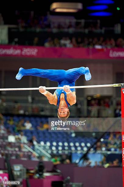 2012 Summer Olympics USA Samuel Mikulak in action parallel bars during Men's Team AllAround Qualification at North Greenwich Arena London United...