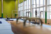 Gymnastics Equipment in an Empty Gym.