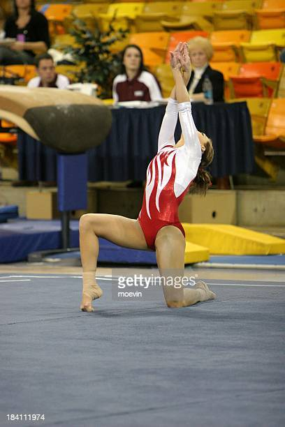 Gymnastics Floor Excercise, Red Leotard