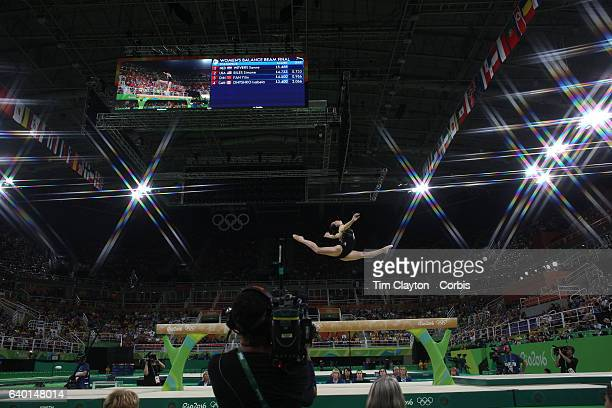 Day 10 Catalina Ponor of Romania perfoming her routine in the Women's Balance Beam Final during the Artistic Gymnastics competition at the Rio...