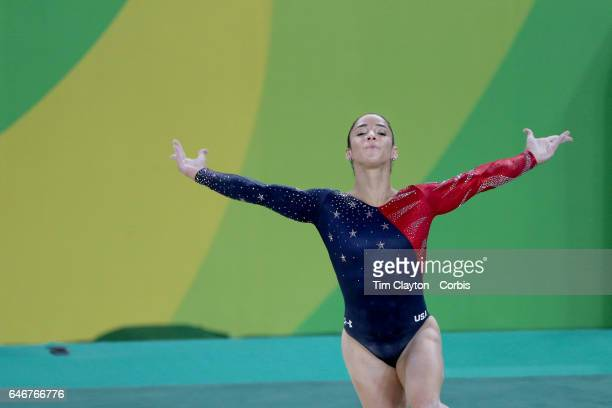 Day 2 Alexandra Raisman of the United States performing her Floor routine during the Artistic Gymnastics Women's Team Qualification round at the Rio...