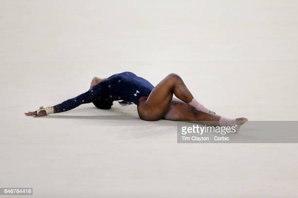 Day 2 Gabrielle Douglas of the United States performing her Floor routine during the Artistic Gymnastics Women's Team Qualification round at the Rio...
