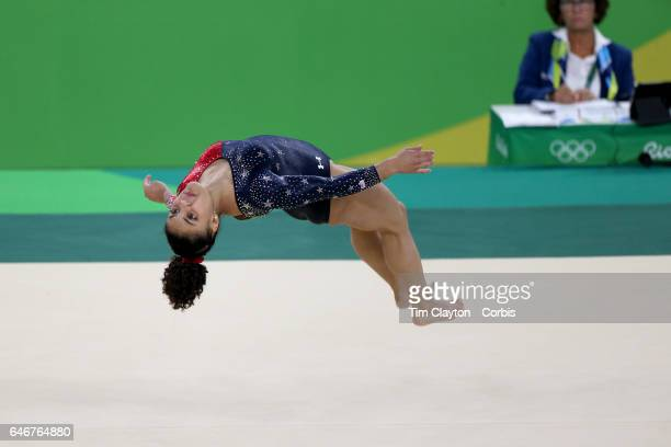 Day 2 Lauren Hernandez of the United States performing her Floor routine during the Artistic Gymnastics Women's Team Qualification round at the Rio...
