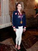 Gymnastics Team gold medalist McKayla Maroney lights The Empire State Building on August 14 2012 in New York City