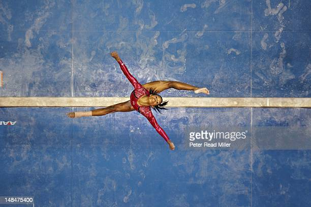 US Olympic Trials Gabrielle Douglas in action on balance beam during Women's Competition at HP Pavillion San Jose CA CREDIT Peter Read Miller