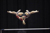 Visa Championships Shawn Johnson in action during uneven bars event Senior Women's Competition Final Day at Xcel Energy Center St Paul MN CREDIT...