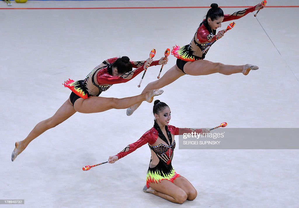 Gymnasts from the Azerbaijan team perform during the group all-around final at the 32nd Rhythmic Gymnastics World Championship in Kiev on August 31, 2013.