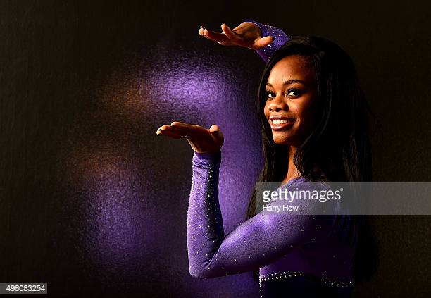 Gymnasts Gabby Douglas poses for a portrait at the USOC Rio Olympics Shoot at Quixote Studios on November 20 2015 in Los Angeles California