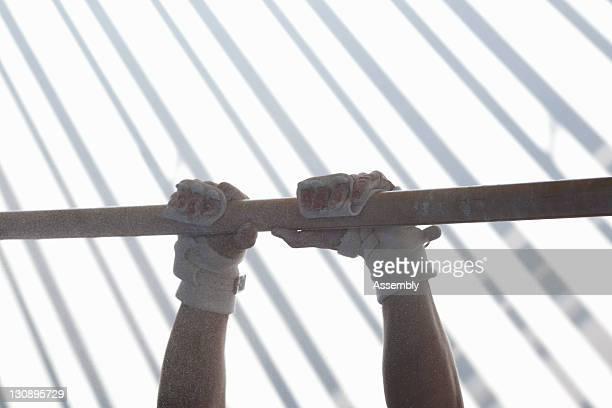 Gymnast's hands on horizontal bar