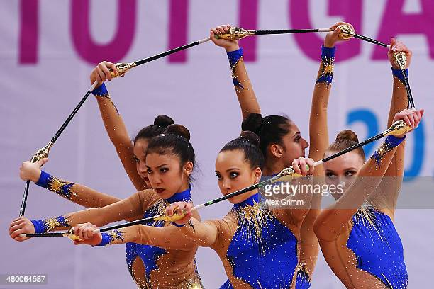 Gymnasts of the team of the USA perform during the group allarround competition of the GAZPROM World Cup Rhythmic Gymnastics at Porsche Arena on...