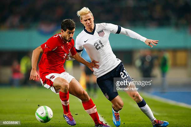 Gyoergy Garics of Austria competes for the ball with Brek Shea of USA during the International friendly match between Austria and USA at the...
