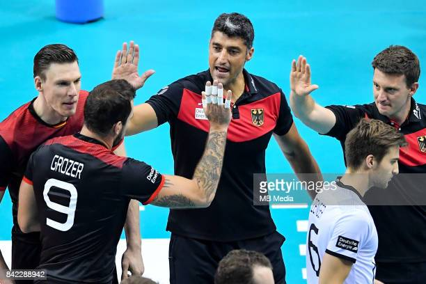 Gyorgy Grozer of Germany and Germany head coach Andrea Giani during the Final of the European Men's Volleyball Championships 2017 match between...